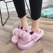 Plush Hairball Cotton Winter Faux Fur Woman Slippers Slip on Warm Shoes Non-slip Flats Female Spring Autumn House Shoes faux pearl slip on plimsolls