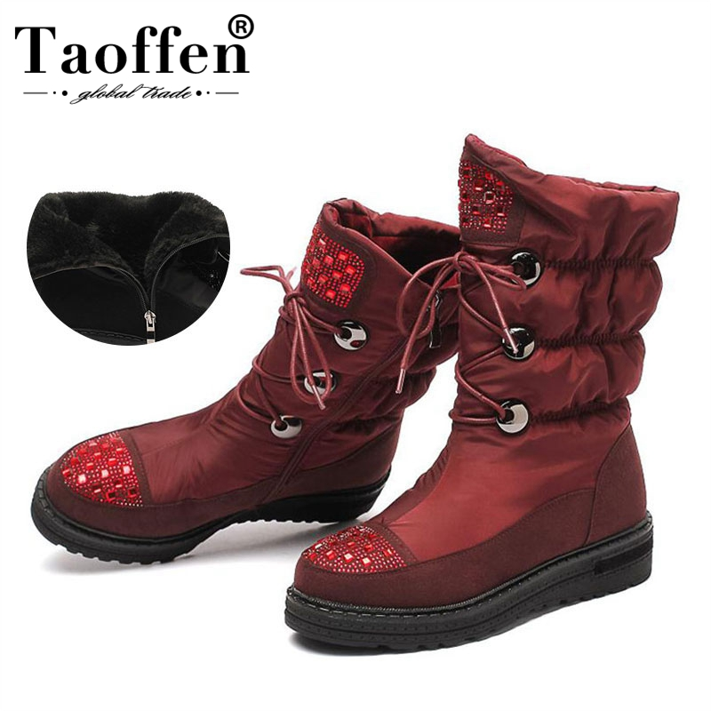 Taoffen 2020 Russia warm winter half boots for women round toe fashion Thick bottom shoes Waterproof