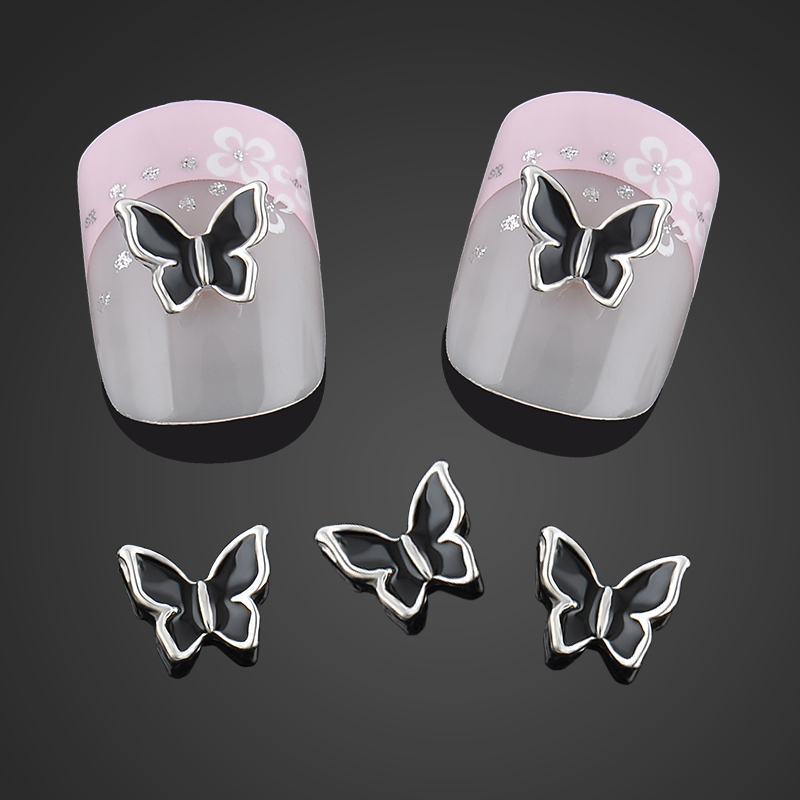 Beauty Black Butterfly Nail Art Decorations Alloy 3d Nail Charms Jewelry Glitter Alloy Nails Tools Free Shipping abs chrome tail rear trunk window side cover trim car styling accessories fit for ford kuga escape 2013 2014 2015 2pcs per set