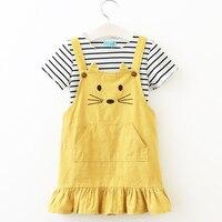 Bear Leader Girls Sets 2017 New Children Clothing Strap Dress Sets Kids Clothes Pullover Striped Shirt