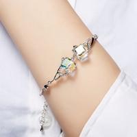 Crystal From Swarovski Bracelets For Women Trendy Luxury Women Leather Bracelet Fashion Geometric Bracelet Stainless Charm