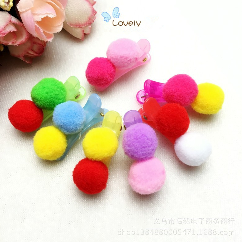 Colorful Ball Hairpins for Cute Girls Headwear Children Accessories Hairpins  Kids Kawayi Hair clip women headwear 2017 retro hair claw cute hair clip for girls show room vitnage hair accessories for women