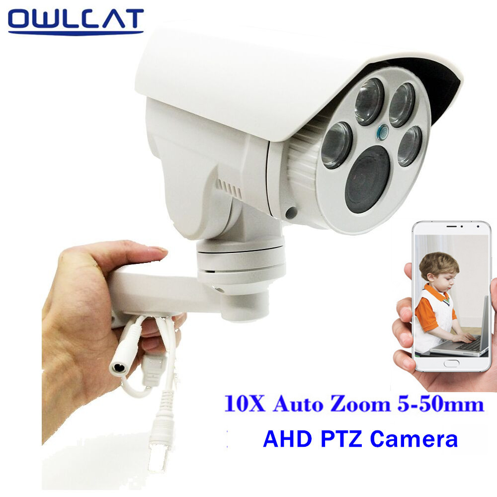OwlCat Full HD 1080P 960P PTZ AHD Camera 10X Optical Zoom 5-50mm Lens Autofocus Pan/Tilt/Zoom 2MP 1.3MP Outdoor Security Camera 10x zoom optical camera lens telescope w tripod for iphone 5 black white