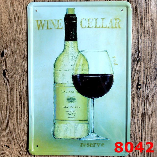 Xcm Red Wine Vintage Home Decor Tin Sign Pub Wall Decor Bar ...