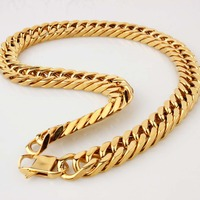 Top Quality Hip Hop Mens Titanium Stainless Steel Cuban Cubra Gold Chain Link Necklace Rapper Chunky