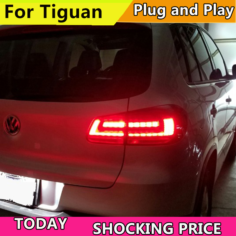 Car Styling for VW Tiguan Tail Lights 2013-2015 Volks Wagen New Tiguan LED Tail Light Rear Lamp DRL+Brake+Park+Signal car styling rear bumper led brake lights warning lights case for vw golf 7 2013 2015 accessories good quality