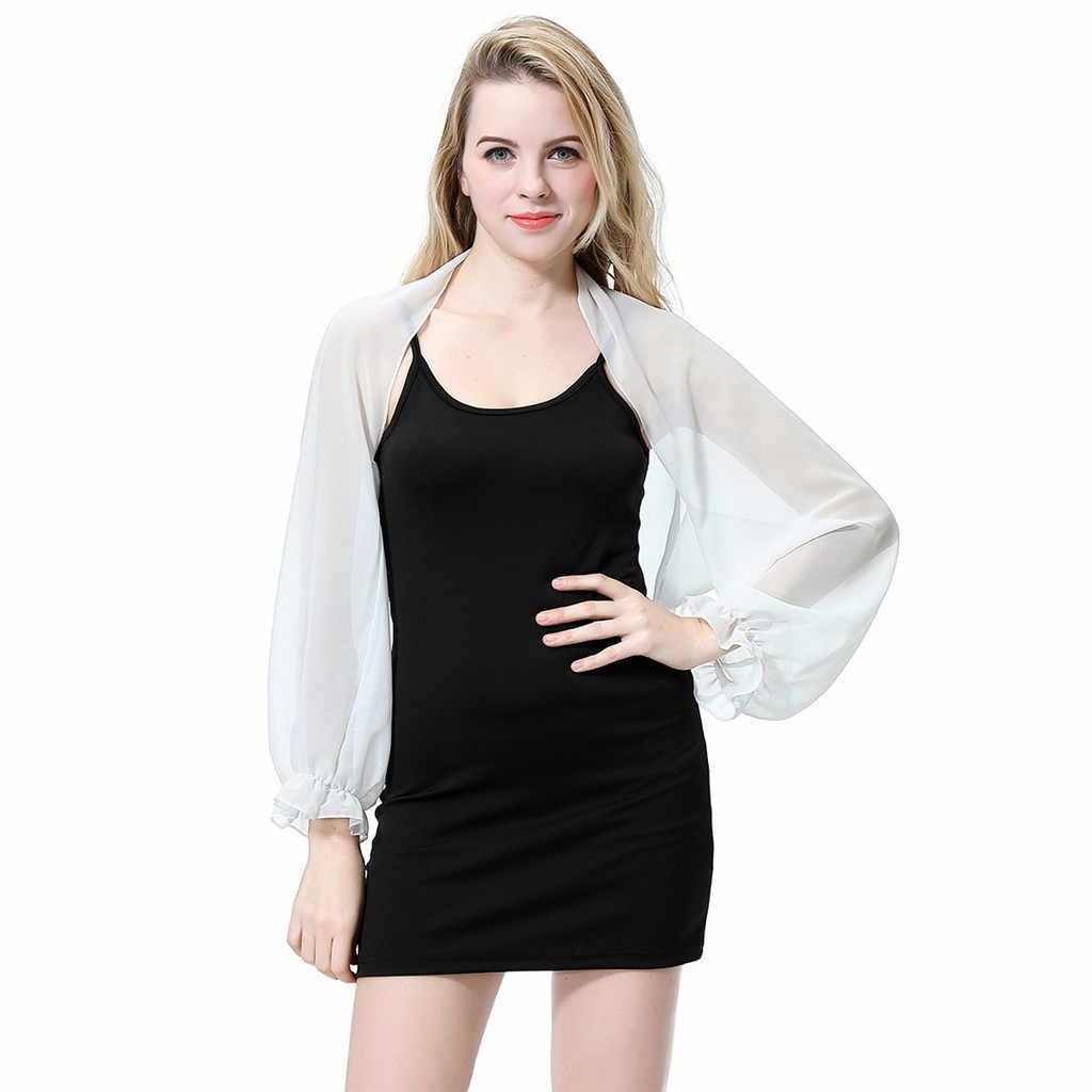 ผู้หญิงชีฟองผ้าคลุมไหล่ผ้าพันคอ Evening PARTY งานแต่งงานชุด Wraps Shrug Soft น้ำหนักเบาผ้าคลุมไหล่ผู้หญิงแฟชั่น 2020