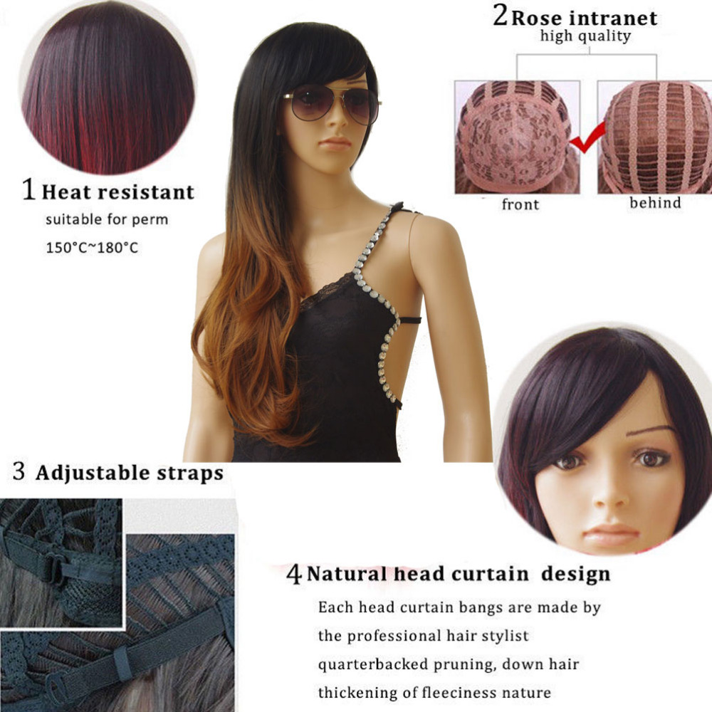 Image 2 - S noilite Synthetic Wigs Long Straight Ombre Wig Heat Resistant Fiber Mint Green Black Roots Wigs for Women Fake Hair-in Synthetic None-Lace  Wigs from Hair Extensions & Wigs
