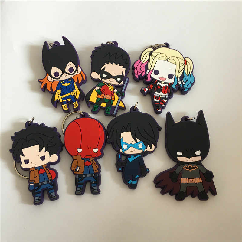 new style Marvel cartoon Nightwing PVC key chain Damian Red Hood funny novelty Keyring man girl keychain Llaveros gift kid toy
