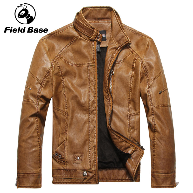 Field Base New Arrived High Quality Motorcycle Faux Leather Mens Coats Male Slim Coats With Zipper Man Outerwear Stand Coats