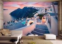 Custom Picture in Picture Photo Wallpaper European Retro Santorini Greece Landscape Wallpaper 3D Stereoscopic TV Backdrop