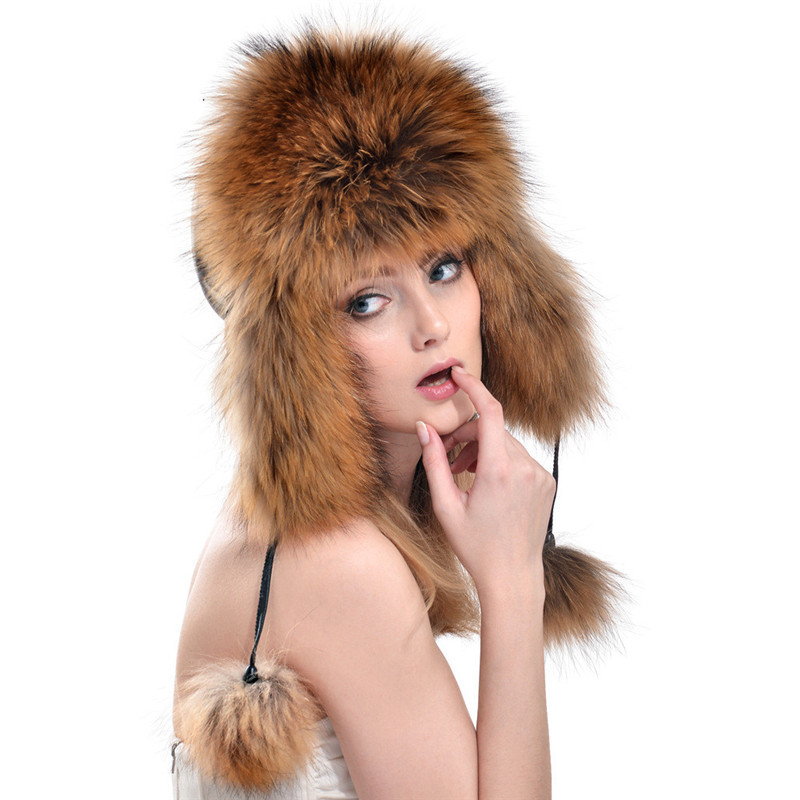 2017 New Fox Fur Ear Cap Lei Feng Cap Women Hat Autumn and Winter Fashion Outdoors Warm Ladies Leather Fox Fur Hat LH299
