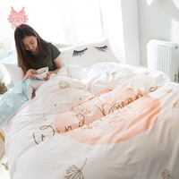 Modern style pastoral cartoon print bedding sets 100% Pure cotton comforter cover set fitted sheet type 4pcs per set SP4231