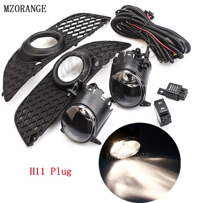 MZORANGE 1 Set H11 Car Front Fog Driving Lights Bumper Grille Cover Trim Hook up Wire