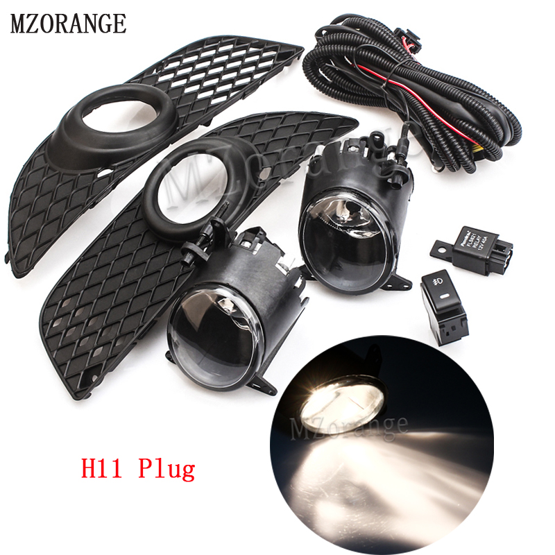MZORANGE 1 Set H11 Car Front Fog Driving Lights Bumper Grille Cover Trim+Hook-up Wire Switch Kit for Mitsubishi/Lancer 08-14 car bi xenon projector fog lens front bumper lights for mitsubishi lancer ex 10 lancer 08 evo 10 ling yue v312