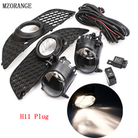 Mzorange 1 conjunto h11 carro frente nevoeiro luzes de condução pára-choques grille capa guarnição + gancho-up kit interruptor de fio para mitsubishi/lancer 08-14