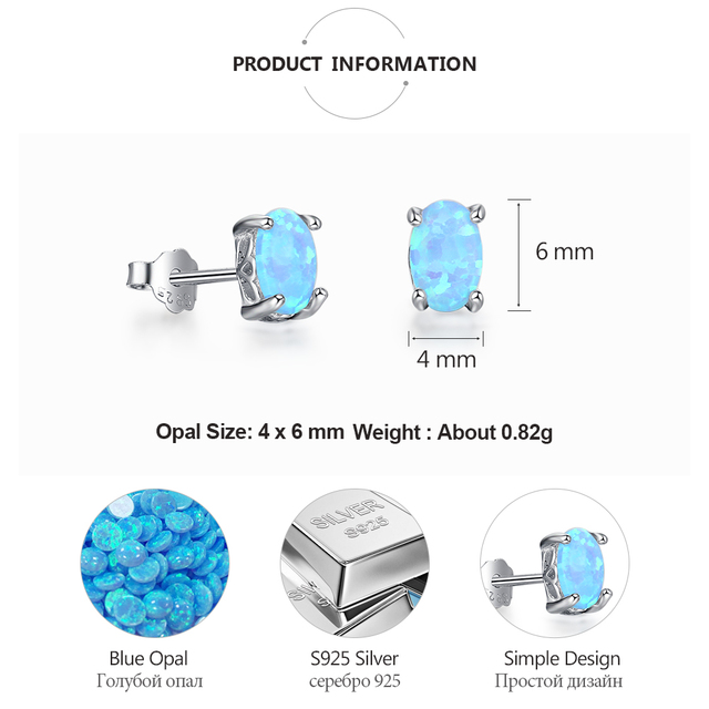 925 Sterling Silver Stud Earrings for Women Cute 4mm Created Oval White Pink Blue Fire Opal.jpg 640x640 - 925 Sterling Silver Stud Earrings for Women Cute 4mm Created Oval White Pink Blue Fire Opal Earrings Fine Jewelry (Lam Hub Fong)