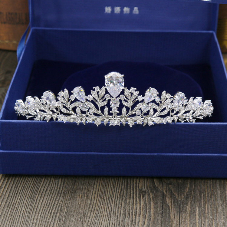 Zircônia cúbica de alta qualidade zircônia branca chapeado zircônia coroa tiara/bandana para o baile de formatura