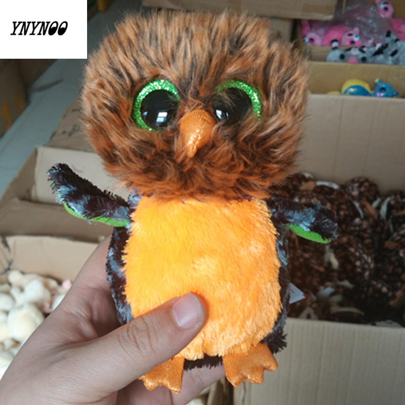 YNYNOO Ty Beanie Boos Long-haired owl 6inch Big Eyes Beanie Baby Plush Stuffed Doll Toy Collectible Soft Plush Toys Kids Gift big toy owl plush doll children s toys simulation stuffed animal gift 28cm