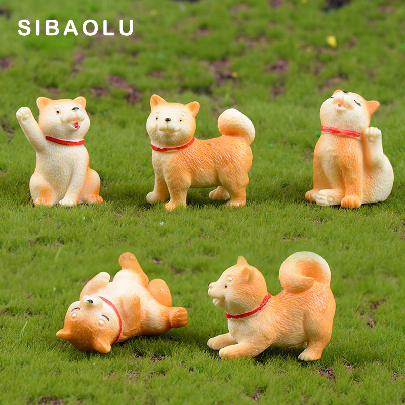 Akita Yellow Dog Figurine Cartoon Animal Model Moss Landscape Resin Craft Home Miniature Fairy Garden Decoration Accessories