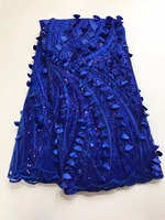 Французский кружевной ткани 5yds/pce по dhl Синий 3d с блестками шнуровка для роскошных женщин платья 2017 высокое качество нигерийские Ткани