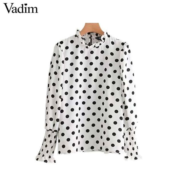Vadim mujeres lindo lunares camisas sueltas chic side dividir manga larga con volantes cuello de la blusa casual de las señoras tops blusas LT2539