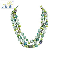Lii Ji Dye Green Coin Shell Abalone Shell Freshwater Pearl Glass Jade Toggle Clasp 3 Strands