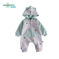 Jesień Bawełna Noworodka Baby Pajacyki dla dzieci Chłopcy Dziewczęta Z Długim Rękawem Dla Niemowląt Piękny Niedźwiedź Panda Wspinaczki Ubrania Dla Dzieci Z Kapturem
