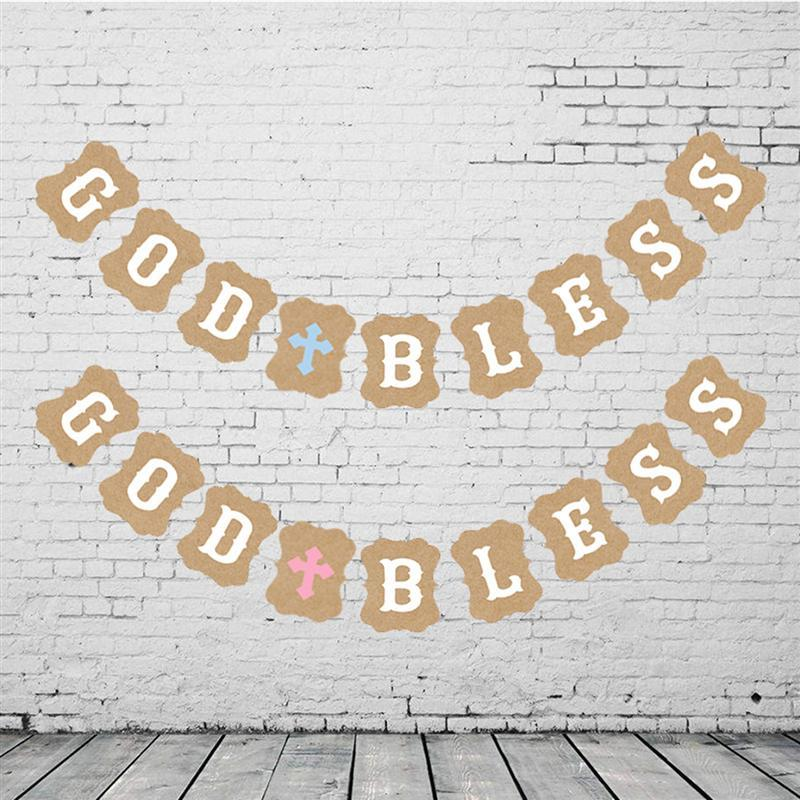 3M Kraft Paper GOD BLESS Letters Banners Garland Bunting Flags For Baby Shower Birthday Christening Baptism Party Decoration