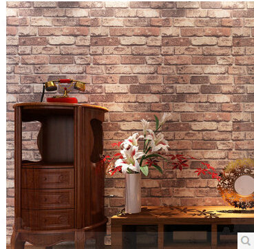 Brick Stone Wallpaper Red Adhesive 3D Wood Wall Paper Roll Wine Bar ...
