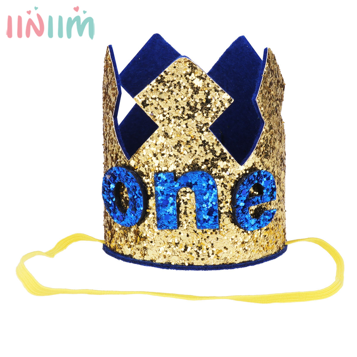 Iiniim Birthday Party Prince King Sparkly Glittery Headwear For Baby Boy Girls Crown Hat Headband Head Wear Accessories