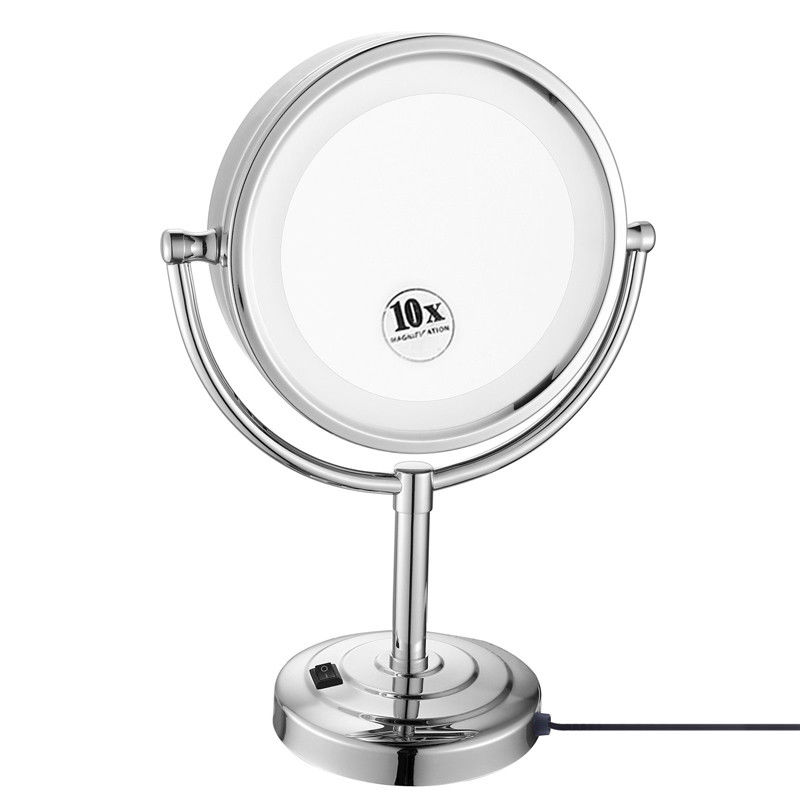 GURUN 8.5 Desktop Vanity LED Makeup Mirror lights Double Sided Cosmetic Mirror Magnification x10 and Normal, Polished Chrome камера заднего вида vizant ca 9864