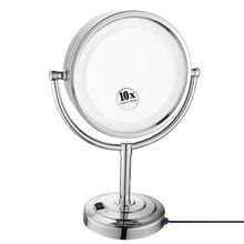 """GURUN 8.5"""" Desktop Vanity LED Makeup Mirror lights Double Sided Cosmetic Mirror Magnification x10 and Normal, Polished Chrome"""