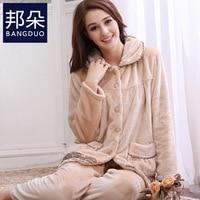 Gadpat 2017 Women Winter Flannel Pajamas Female Winter Thick Warm Coral Velvet Pajamas Suits Long Pants