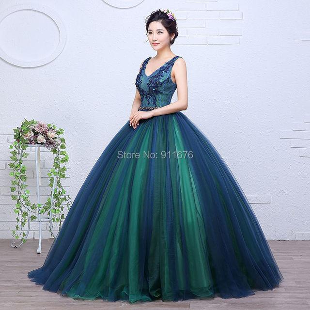 0b476f732 El más nuevo vestidos de bola verde oscuro vestidos de quinceañera 2017 con  cuello en v
