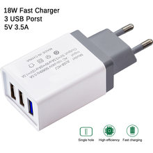 Universal 18W 3USB Quick Charge 5V 3.5A For Iphone 7 8 EU Plug Mobile Phone Fast Charger Charging for Samsug S8 S9 Huawei(China)