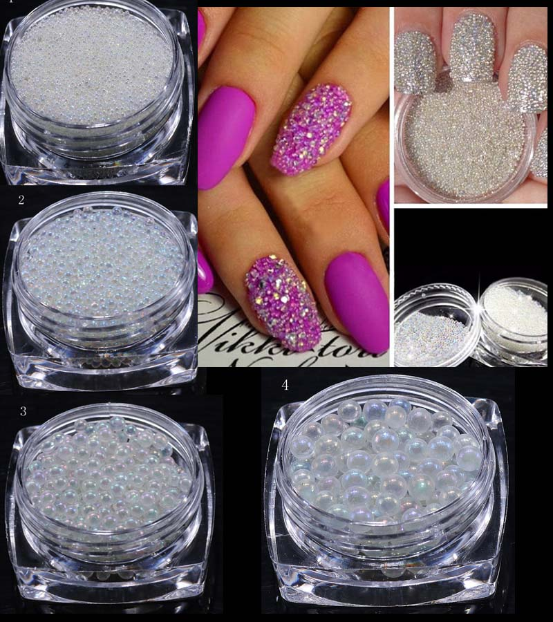 1 Box AB Clear Transparent Nail Art Decoration Mini Glass Tiny Caviar Beads 0.6-2mm AB Crystal Glass Look Caviar Beads 4 sizes 10g box clear nail caviar micro beads 3d glitter mini beans tiny tips decorations diy nail art rhinestones manicure accessories