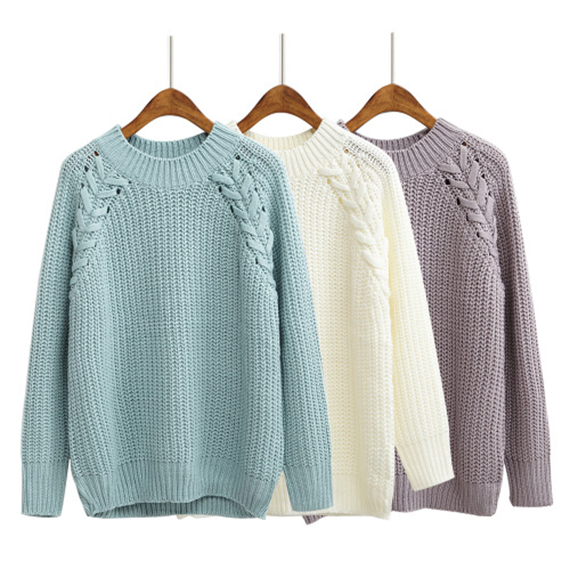 2016 Autumn Winter Women Sweaters and Pullovers Loose Casual Solid Color O Neck Twist Knitted Wool