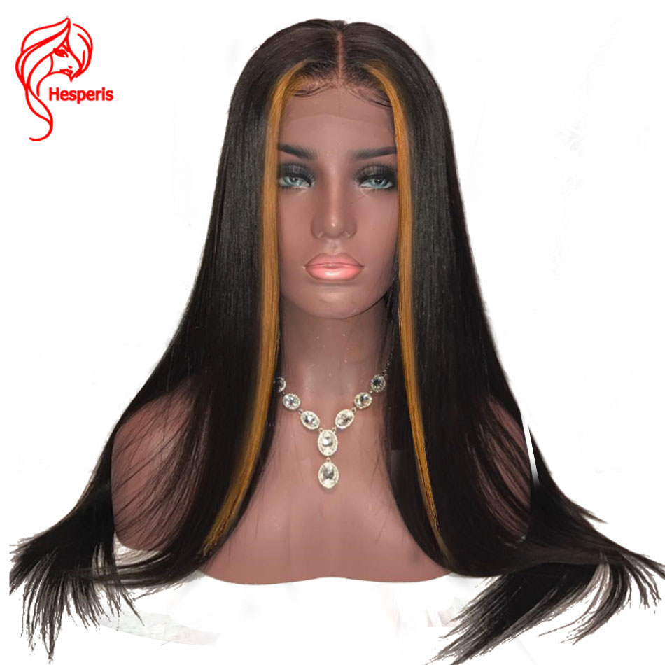 Hesperis Lace Front Human Hair Wigs Brazilian Remy Hair Straight Blonde Lace Front Wigs Pre Plucked