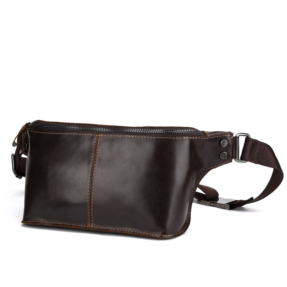 Multi Functional Waist Pack,Retro Large Capacity Outdoor Waist Pack First Layer Cowhide Mens Purse Crossbody Shoulder,oilcoffee