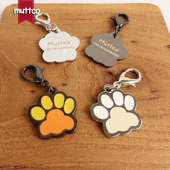 50pcs/lot free shipping laser lettering paw print shape dog accessories can record dog name alloy dog id tags