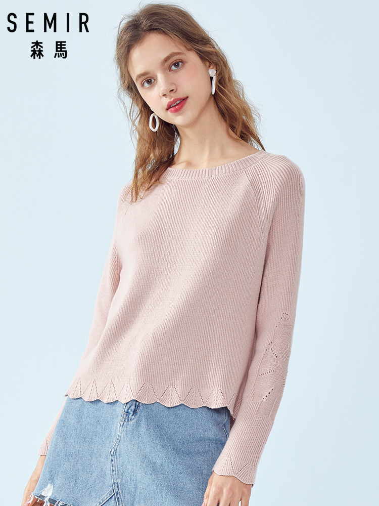 SEMIR Women Rib Knit Sweater with Ruffle Trim Women's Pullover Sweater with Ruffle-Trimed Sleeve Ribbing at Crewneck for Spring(China)