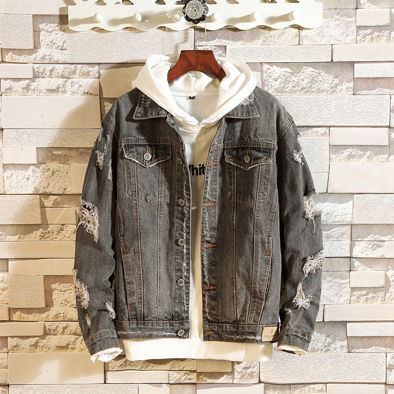 Spring New Denim Jacket Men Fashion Retro Washed Hole Denim Jacket Man Streetwear Wild Hip Hop Loose Bomber Jacket Male Clothes(China)