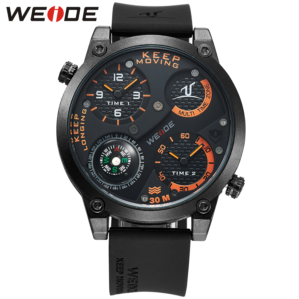 WEIDE Sports Watch Compass Analog Japan Movement Silicone Strap Buckle Army Waterproof Men's Outdoor Quartz Military Watches