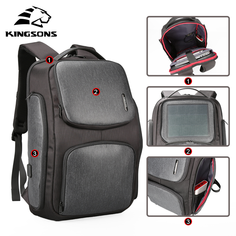 Kingsons Upgraded Solar Backpack Fast USB Charging Kanpsack 15.6 inches Laptop Backpacks Male Women Travel Bag Cool MochilaKingsons Upgraded Solar Backpack Fast USB Charging Kanpsack 15.6 inches Laptop Backpacks Male Women Travel Bag Cool Mochila