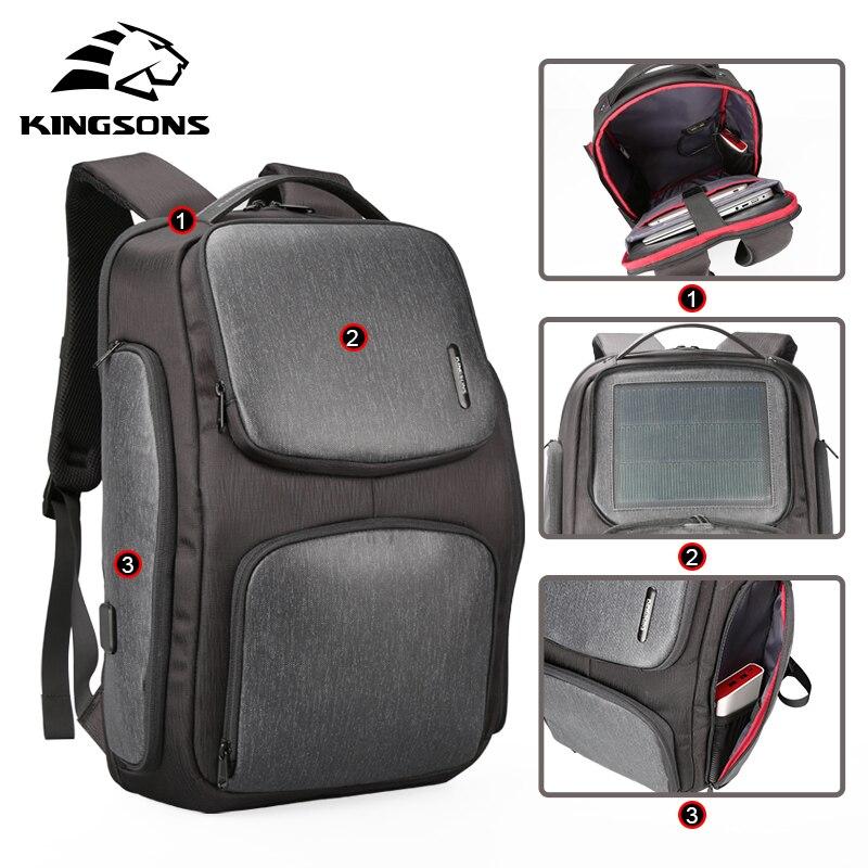 Kingsons mis à niveau sac à dos solaire rapide USB charge Kanpsack 15.6 pouces sacs à dos d'ordinateur portable homme femmes sac de voyage Cool Mochila