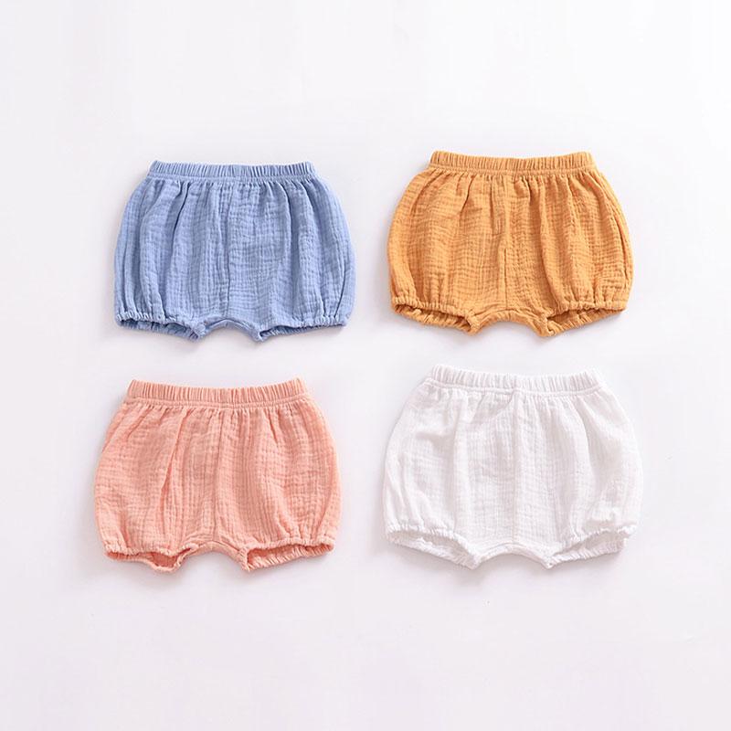 2018 verão das crianças roupas das meninas shorts da criança sólido algodão linho roupas do bebê dos miúdos calções extremos bloomers calças 1-4y