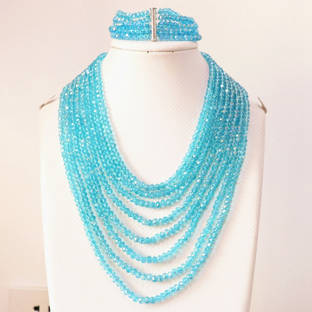 sky blue crystal glass 4x6mm beads fashion diy jewelry set 8 rows chain nacklace 5 rows bracelet B854