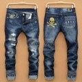 Estilo Americano europeo de la manera de la marca de algodón pantalones vaqueros de los hombres de lujo ocasionales de Los Hombres pantalones de mezclilla agujero cremallera Delgado blue jeans para hombres
