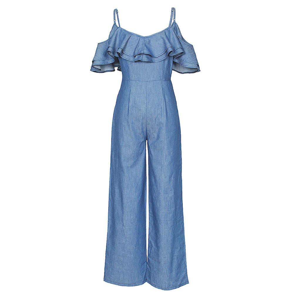 Anself сексуальный женский комбинезон с оборками и открытыми плечами, с поясом, на молнии, широкие брюки, комбинезоны на бретелях, Цельный синий женский комбинезон
